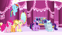 Rarity's friends looking worried of Rarity about to read the article S6E9