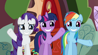 Rarity, Twilight, and Rainbow Dash waving goodbye S02E21