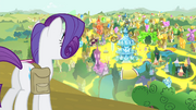Rarity looking out over 'Rarified' Ponyville S4E23