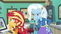 Sunset and Trixie wonder who Wallflower is EGFF.png