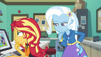Sunset and Trixie wonder who Wallflower is EGFF