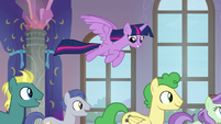 Twilight Sparkle soaring over the students S8E1