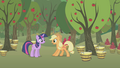 Applejack surprised by Twilight S1E04.png