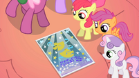 CMC looking at Ponyville school talent show flier S01E18