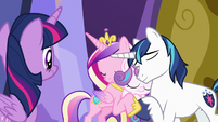 Cadance and Shining Armor hugging Flurry Heart S7E3