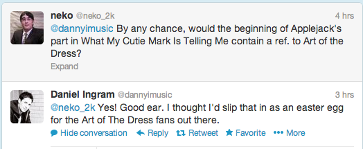 "Daniel Ingram reference to ""Art of the Dress"" in ""What My Cutie Mark…"""