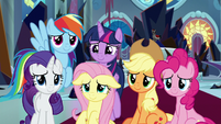 Mane Six listening to Discord's speech S9E2