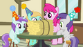 Mare and fillies with hay bale S4E12.png