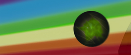 Obsidian sphere flies toward rainbow streak MLPTM