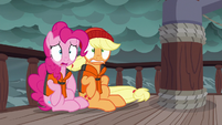 Pinkie Pie and Applejack looking very worried S6E22