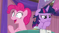 Pinkie Pie thinking of an answer S9E16