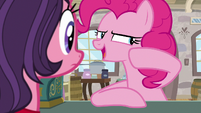 Pinkie Pie whispering to shop owner S8E3