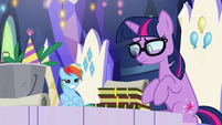 Pony Sci-Twi looking embarrassed EGSB