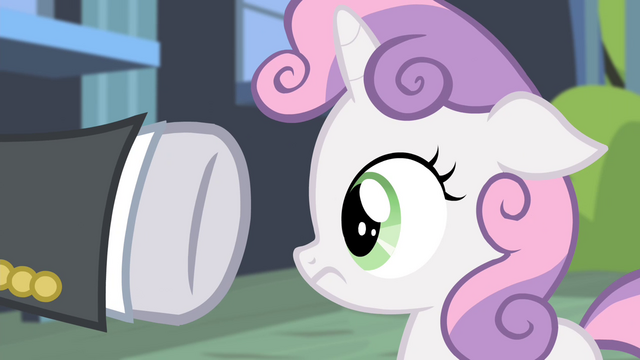 File:Security guard pointing hoof at Sweetie Belle S4E19.png