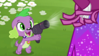 Spike using blow dryer on Rarity's fringe CYOE13