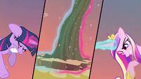 Twilight and Cadance struggling to levitate flower S4E11