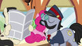 All Aboard walks past a seated Pinkie and a Don Draper-like pony S5E11.png