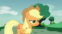Applejack angrily following Rarity S7E9