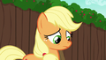 Applejack looking down at ruined cart S6E14.png