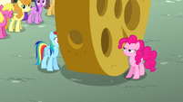 Large cheese rolling between Rainbow and Pinkie S4E12