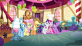 Pinkie Pie hugging Rarity and Twilight S4E18.png