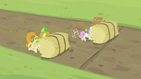 Rarity and Sweetie Belle pushing hay bale S2E05