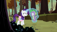 Rarity levitates Spike off the ground S8E11