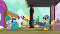 Spike and Rarity find Gabby at the station S9E19