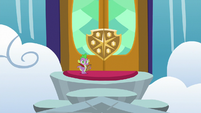 Spike outside the School of Friendship S8 opening