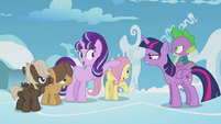 Starlight patting filly Fluttershy on the head S5E25