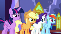 Twilight nervously bites her lip while others look at door S5E11