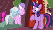Twilight sees Diamond Tiara and Silver Spoon jumping up and down S4E15