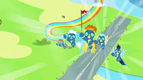 Wonderbolts climbing back up into the sky S7E7