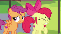 Apple Bloom and Scootaloo cringing S7E21