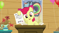 Apple Bloom shows a letter from Babs Seed S5E04