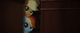 Applejack and Rainbow peek through crates MLPTM
