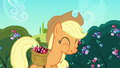 Applejack chowing down on a crystal berry S3E1.png