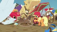 Applejack lamenting her wrecked cart S6E14