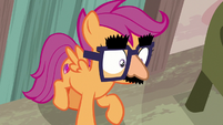 Disguised Scootaloo backs into the bakery door S7E8