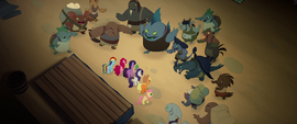 Klugetowners surround Mane Six and Spike MLPTM
