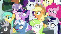 Main ponies and crowd worried about Scootaloo S8E20