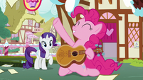 Pinkie Pie does a power slide with acoustic guitar S7E9