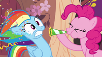 Pinkie blows party horn in Rainbow's face S4E04