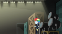 Rainbow Dash looks around the storage area EGS2