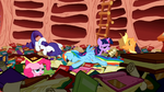 Rainbow crashing into Twilight's library S1E16