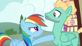 Rainbow poking Zephyr with her hoof S6E11.png
