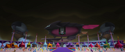 Tempest Shadow's skiff looming over Canterlot MLPTM