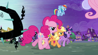 The Mane Six march into Ponyville S4E01