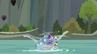 Trixie and Starlight's wagon falls in the water S8E19