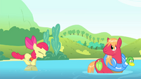 Apple Bloom jumps onto a stone S4E20